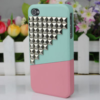 iphone 4 case, studded iphone 4 case, studded iphone 4s case - silver / mint / pink