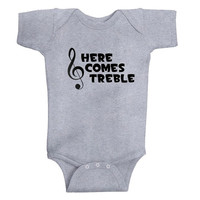 "Cute ""Here Comes Treble""-3 COLOR options- baby- Onesuit- Clothing-infant-music-treble clef-The Office-TV show"