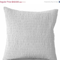Valentine SALE White Cotton Pillow -Ruched white pillow - Pure white cushion -Pleated pillow -24x24- Cotton Cushions- white Ruched Euro Sham