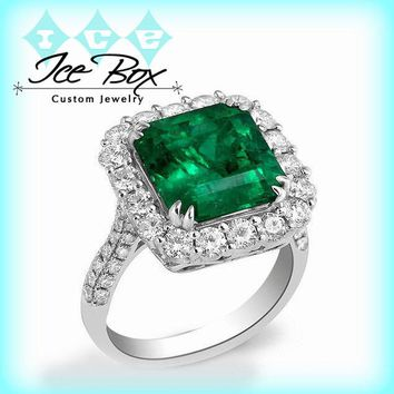 Cultured Emerald Ring -  8mm 3.4ct  Square Emerald Cut in an 18k White Gold Diamond Halo Setting