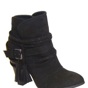 Quipped Black Sued Boots with Tassels - ACCESSORIES