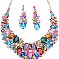 LOVFASHION Bib Jewelry Set, Australian Crystal Colorful Rhinestone Necklace Dangle Earrings Set for Women Girls Weddings Gifts