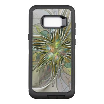 Floral Fantasy Modern Fractal Art Flower With Gold OtterBox Defender Samsung Galaxy S8+ Case