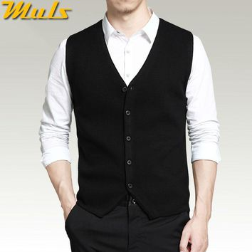 Mens vest sweaters casual style wool knitted single breasted men cardigan vest big size 4XL Muls brand Gray Black Navy MS16007