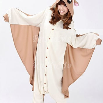 KIGURUMI Cosplay Romper Charactor animal Hooded Night clothes Pajamas Pyjamas Costume sloth  outfit Sleepwear -Flying Squirrel