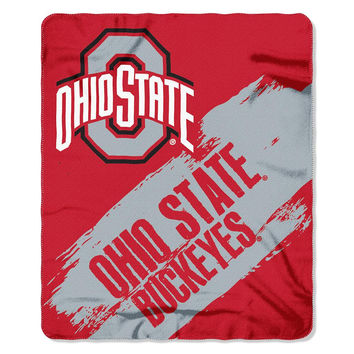 Ohio State Buckeyes NCAA Light Weight Fleace Blanket (Paint Series) (50inx60in)