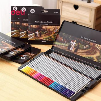 Deli Office Stationery 72 Colors colored pencil Set for Drawing Painting Sketch Tin Box Art school Supplies Professional pencil