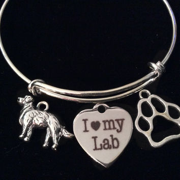 I Love My Lab Dog Silver Expandable Charm Bracelet Adjustable Wire Bangle Gift Paw Print