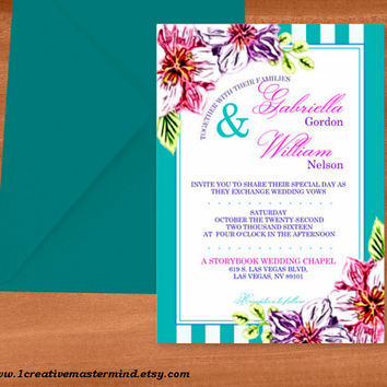 DIY Wedding Invitation Template, Instant Download, DIY, Editable PDF, Printable, Digital, Floral with Teal and White Stripes #1CM80-2