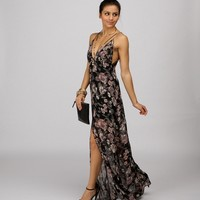 Black Flowers Bloom Maxi Dress