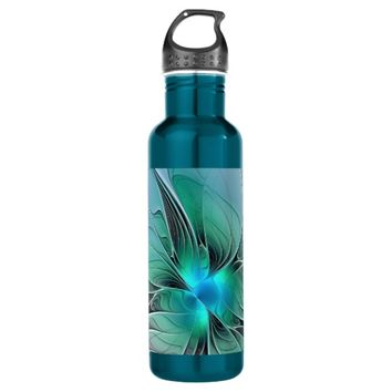 Abstract With Blue, Modern Fractal Art Water Bottle