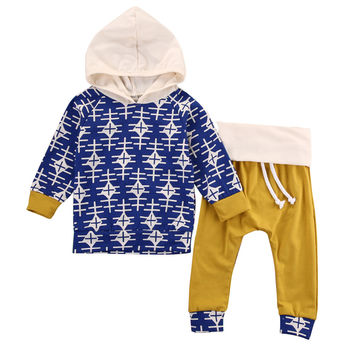 2016 kids boys clothes baby clothing sets Newborn Toddler Infant Baby Boy Girl Clothes Hooded Tops+Pants Outfits Set