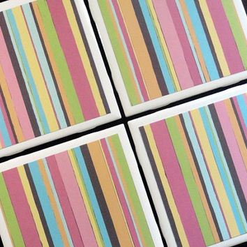 Striped Coasters, Tile Coaster, Tile Coasters, Coaster, Coasters, Ceramic Coasters, Table Coasters, Drink Coasters, Coaster Set of 4
