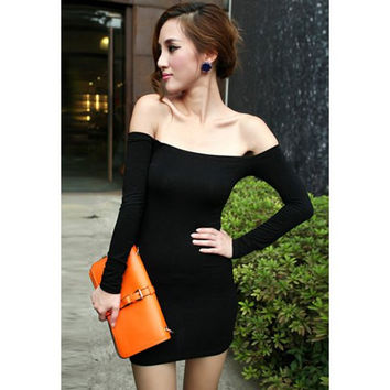 Black Off-the-Shoulder Long Sleeve Mini Dress