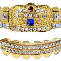 Hip Hop 14K Gold Plated Removeable Mouth Grillz Set (Top & Bottom) Ultimate Crown