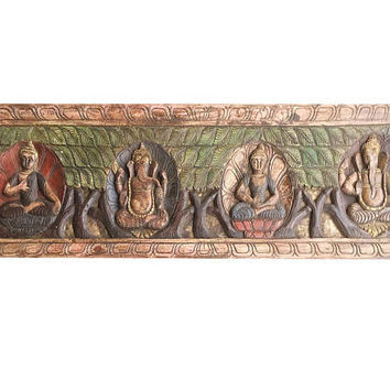 Grounding Antique Vintage Buddha Ganesha Headboard Mediation Wall Sculpture, Home interior Decor FREE SHIP
