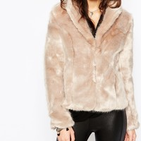 New Look Faux Fur Shawl Collar Coat