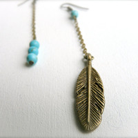 Navajo Feather earrings blue turquoise inca by liliFunambule