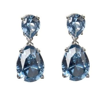 CZ by Kenneth Jay Lane - Aquamarine Double Drop Earrings 12ac1e7e1486
