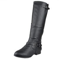 Womens Knee High Boots Buckle Strap Accents Riding Shoes Black SZ