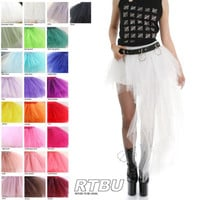 Mono Color Half Micro Mini/Long Train Tutu Skirt Dance Show Wedding Punk Goth