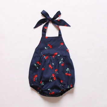 Sale Cherry Navy Baby Girl Romper Baby Romper Bubble Romper Sunsuit Beach Summer Toddler Bubble Romper Outfits Baby Shower Gift