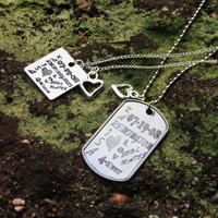Personalized Couples Info Necklaces - Couples Info Necklace Set - His & Hers Necklaces