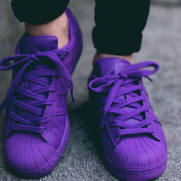 """Adidas"" Shell-toe Sneakers Sport Shoes Pure Color Flats Purple"