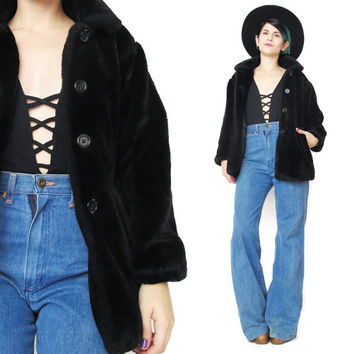 1990s Black Faux Fur Jacket Faux Fur Winter Coat Button Up Club Kid Raver Goth Grunge Cropped Plush Fuzzy Black Faux Fur Coat  (XS/S)