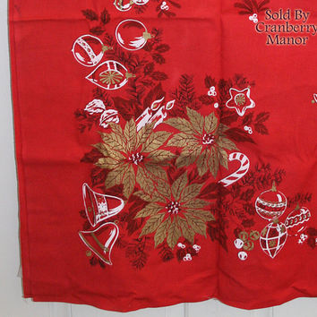 Vintage Parisian Prints Golden Poinsettia Flower Christmas Tablecloth in Red LN010