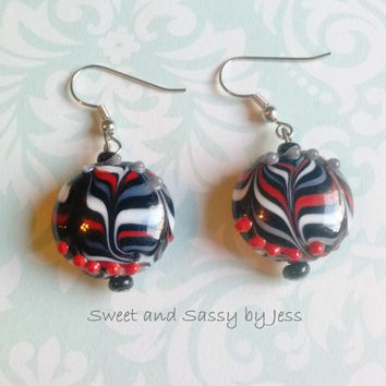 Black red white and grey earrings, lampwork bead earrings, fun earrings, unique earrings, dangle earrings, Lamp work beads, one of a kind