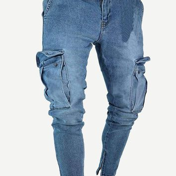 Men Pocket & Zipper Detail Jeans