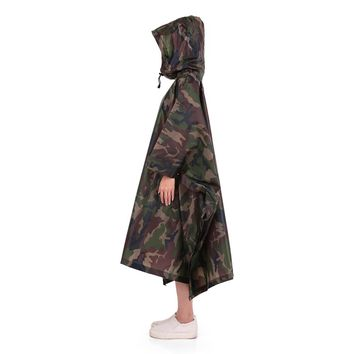 Multifunctional Lightweight Raincoat Hooded Windbreak Coat Impermeable Rain Cover Poncho Rain Coat Open-air Camo Tent Mat