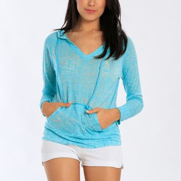 Miami Style® - Light V-Neck Burnout Hoodie