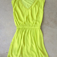 San Clemente Dress in Lime [6995] - $28.80 : Feminine, Bohemian, & Vintage Inspired Clothing at Affordable Prices, deloom