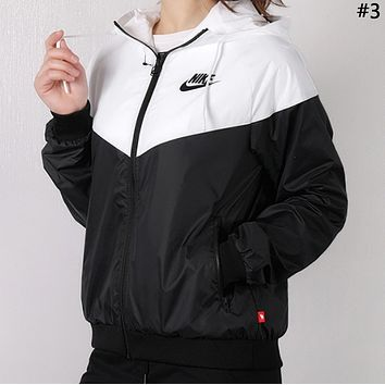 Free shipping-Nike women's breathable thin section stitching print hooded sports trench coat #3