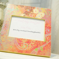Bright Colorful Picture Frame, Bohemian Chic, Orange, Pink, yellow, 3.5X5
