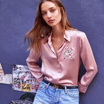 One-nice™ Flowers embroidered blouse lady 2017 autumn's new satin long-sleeve Satin shirt