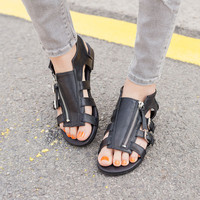 Black and white New Summer Lace Up Sandals = 4777242628