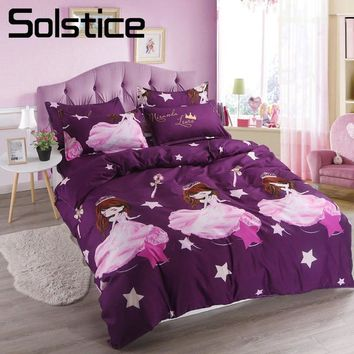 Solstice Home Textile Queen Twin Single Bedding Set Princess Girl Kid Child Bed Linens Purple Duvet Cover Pillow Case Flat Sheet