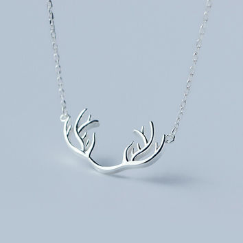 Personalized elk angle 925 sterling silver necklace,a perfect gift