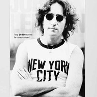 24x36 John Lennon NYC Poster- Black & White One