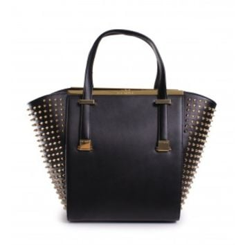 Ted Baker Marion Studded Metal Bar Shopper in Black