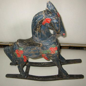 Christmas Rocking Horse Wood Carving Painted Red Green Flowers Sculpture