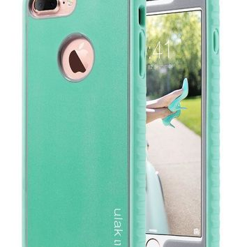 Iphone 7 Plus Case Ulak Shockproof Flexible Tpu Bumper Case Durable Anti Slip Slim Front And Back Hard Protective Cover For Apple Iphone 7 Plus 5.5 Inch Mint/grey