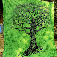 LARGE cotton hippie tapestry wall hanging indian bohemian bedding bedspread throw ethnic tree of life decor wall tapestry