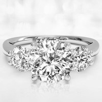 3CT Perfect Three Stone Journey Russian Lab Diamond Promise Engagement Anniversary Wedding Ring