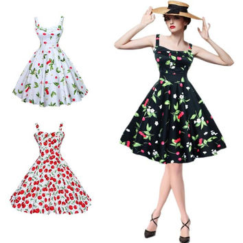 Women Party Dresses Audrey Hepburn Vintage Sleeveless 1950 60s Cherry Print Casual Retro Rockabilly Dress Feminino Vestidos