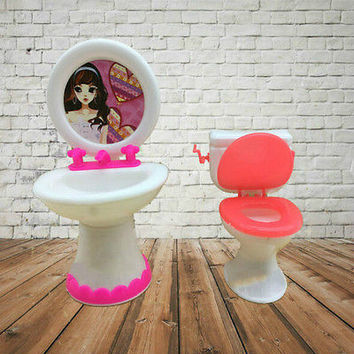Closestool +Washbasin Toilet Wash Devices For Barbie Doll's House Furniture HU