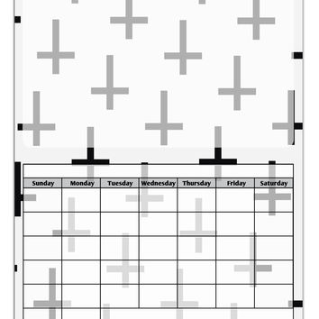 Inverted Crosses Blank Calendar Dry Erase Board All Over Print